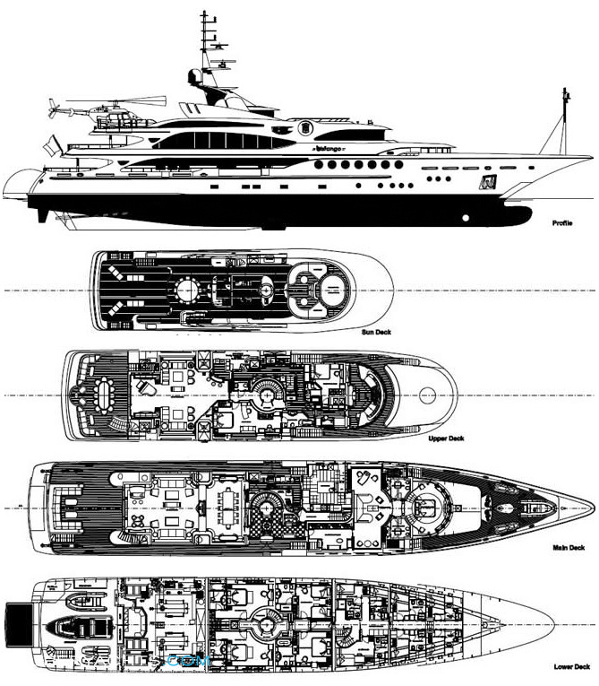 superyacht and megayacht GA Layout