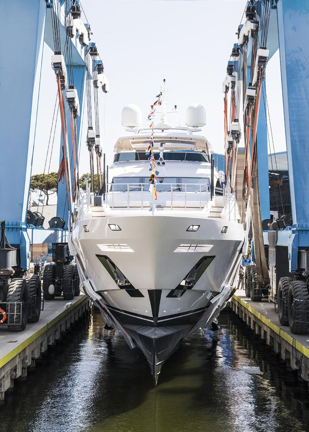 megayacht Benetti fast 140 yacht ironman launched bow view 630x880