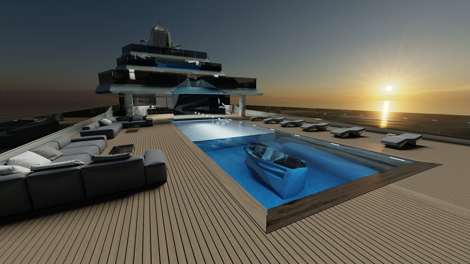 megayacht Equilibrium superyacht concept pool 2560x1440